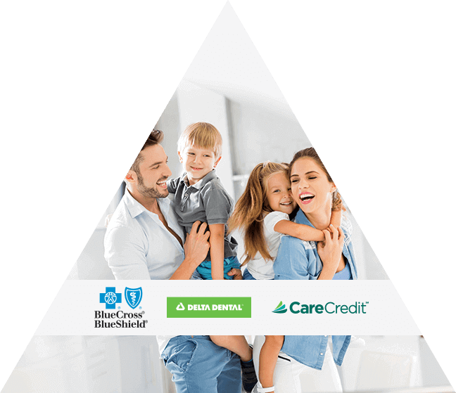 family smiling with insurance logos