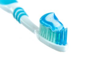 Toothbrush and toothpaste from dentist.