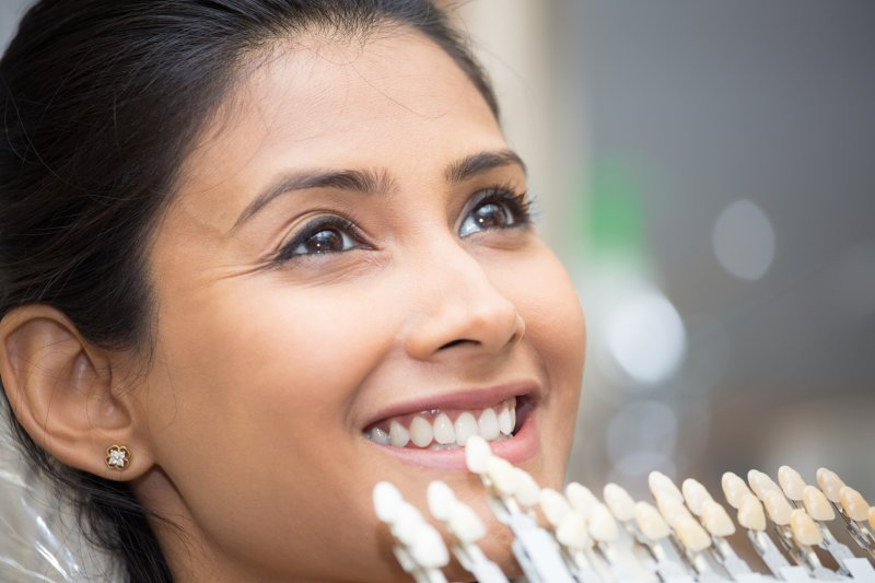 Woman getting porcelain veneers