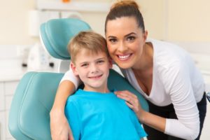 mother and son visit family dentist